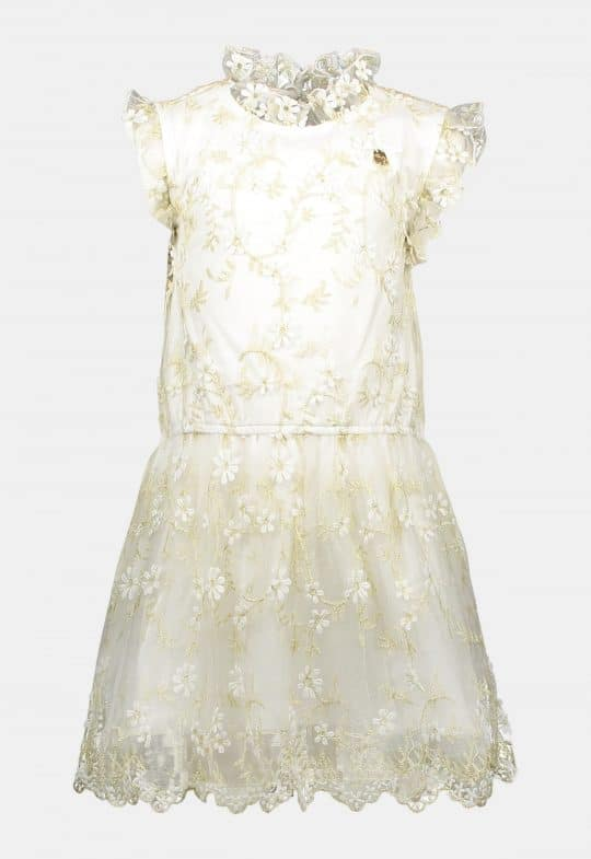 Jurk 'Golden Leaves Off White' Le Chic