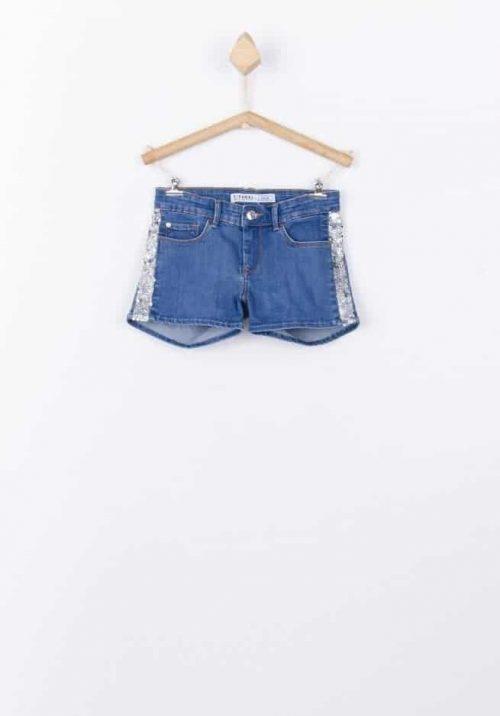 Short Tiffosi jeans glitter blauw