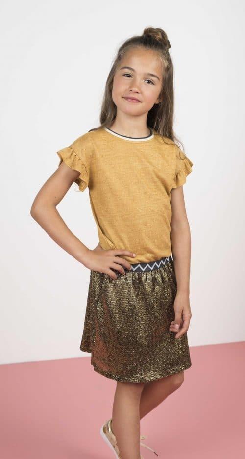 Top t-shirt Like Flo meisje oker geel goud